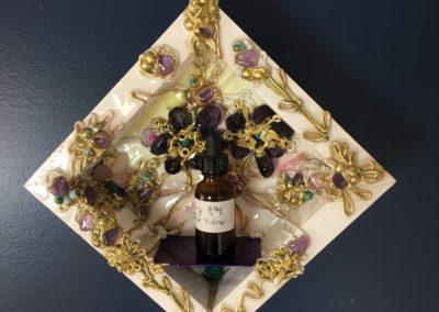 Deep amethyst flowers crystal/metal shelf